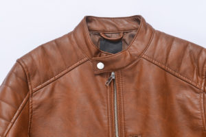 brown leather jacket white background